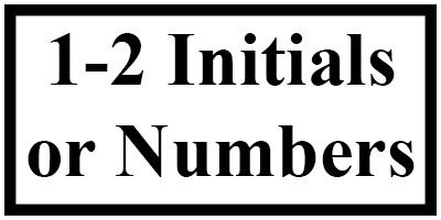 >1-2 Initials / Numbers